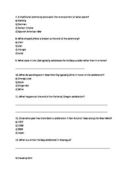 Las Posadas - Holiday - Review Article Questions Vocabulary Activities