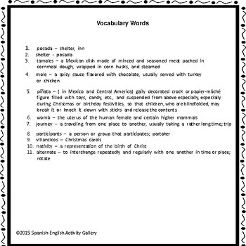 Las Posadas Reading Passage and Comprehension Activities