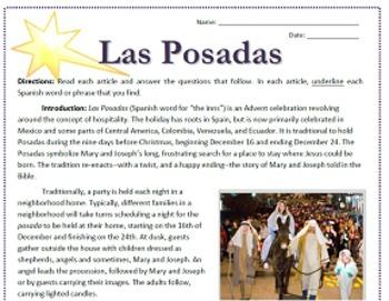 Las Posadas in Mexico Reading / Emergency Sub Plan