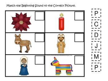 Las Posadas themed Beginning Sounds preschool learning game.  Daycare.