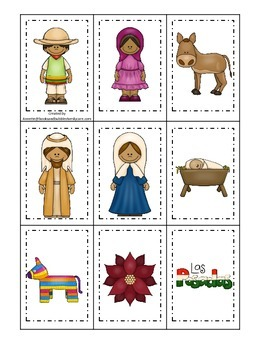 Las Posadas themed Memory Matching Cards preschool learning game.  Daycare.
