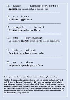 Las Preposiciones - Una Lista