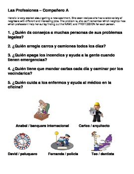 Las Profesiones: Spanish Professions Vocabulary and Reading/Speaking Activity