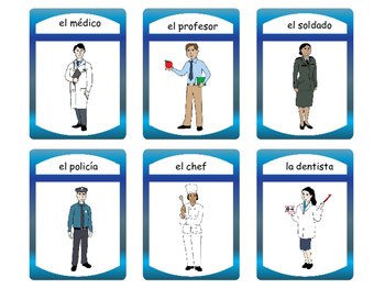 Las Profesiones Spoons Card Game -Jobs Vocabulary in Spanish