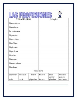 Community Workers- Thematic Unit- Professions in Spanish