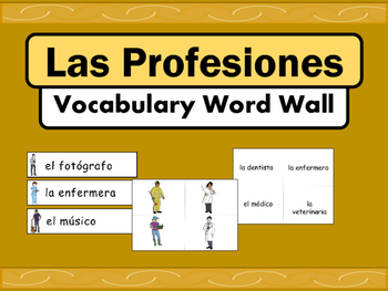Las Profesiones Vocabulary Word Wall – Jobs Vocabulary in Spanish