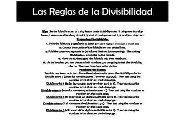 Las Reglas de la Divisibilidad Foldable