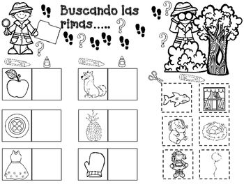 las rimas spanish rhymes cut and paste worksheets by bilingual teacher world. Black Bedroom Furniture Sets. Home Design Ideas