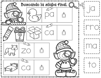 Silaba Final:  Detective Elf Spanish Ending Syllable Cut and Paste