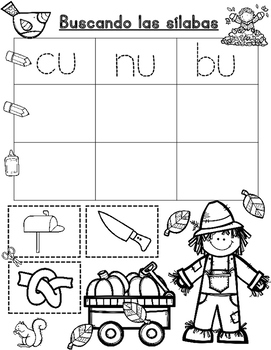 Las Silabas Iniciales de Otono:  Spanish Initial Syllables Fall Theme Activities