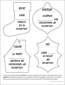 Las Vacaciones de Invierno: Spanish Interactive Notebook Questions