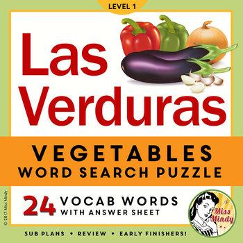 Las Verduras: Spanish Vegetables Word Search Vocabulary & Puzzle