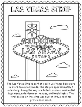 Las Vegas Strip Informational Text Coloring Page Craft or Poster, Geography