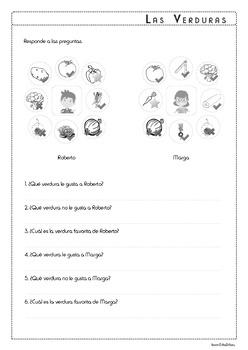 Food: Vegetables in Spanish - Las Verduras - Activity Pack