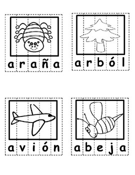 Las Vocales 2 - Spanish ONLY Puzzles, initial sound and coloring pages