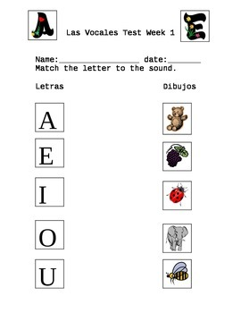 Las Vocales AEIOU Examen Vocabulario