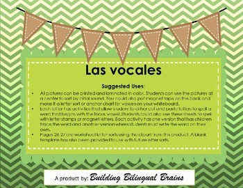 Las Vocales - Activities for Spanish Literacy
