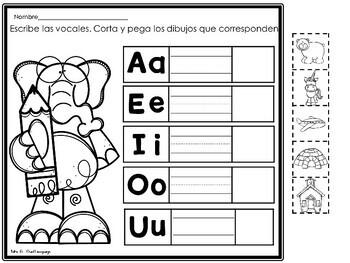 Las Vocales Hojas de Trabajo Spanish Vowels Practice Pages