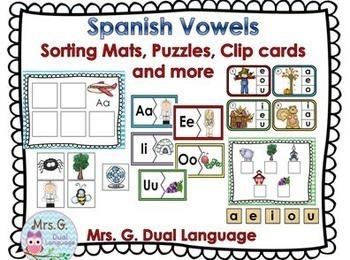 Las Vocales Spanish Vowels Practice Pages and Center Activities BUNDLE