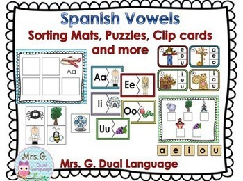 Las Vocales Spanish Vowels Practice Pages and Center Activities BUNDLE