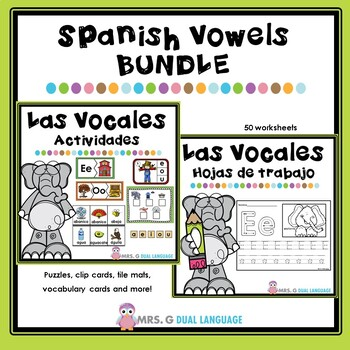 Las Vocales Spanish Vowels Practice Pages and Center Activ