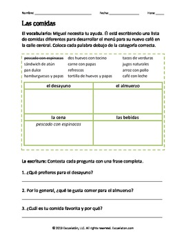 Las comidas Vocabulary, Reading, Writing, & Grammar Worksheet