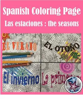 Las estaciones BUNDLE- Spanish Seasons Adult Coloring Pages