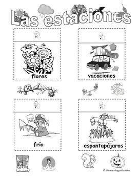 Las estaciones (Seasons in Spanish) with bonus Halloween pages