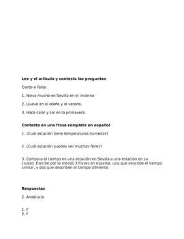 Las estaciones en Espana lectura