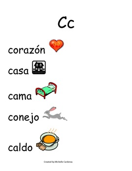 Spanish Word Wall- Letter Cc with Ch included