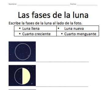 Las fases de la luna - Worksheet/Homework