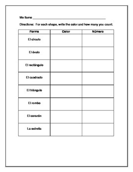 Las formas, los colores, y contando- Una actividad en español