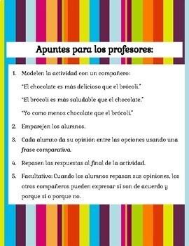 Comparative Sentences | Speaking Activity en español