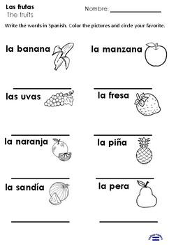 Las frutas 2nd grade