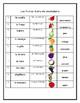 Las frutas- Vocabulary list, flashcards, matching assessment, & activity