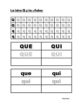 Las letras K y Q con sus silabas