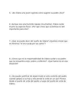 Las medias rojas por Emilia Pardo Bazán / Preguntas de comprensión