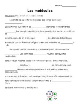 Las moléculas / química- Molecules/Chemistry Cloze Reading in Spanish