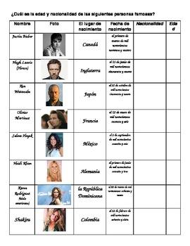 Las nacionalidades - Graphic Organizer & Practice for Spanish Speaking Countries