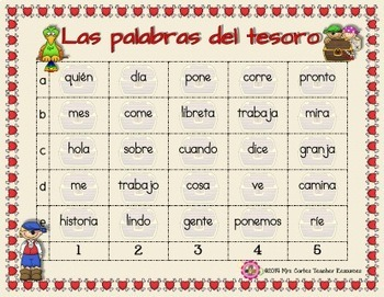 Las Palabras del Tesoro- Spanish High Frequency Words Game for first grade