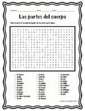 Las partes del cuerpo / Parts of the Body in Spanish / Word Search