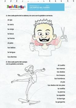Las partes del cuerpo (vídeo, canción, worksheet, picture dictionary)