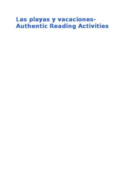 Las playas y vacaciones Authentic Reading Activities