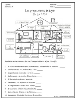 Las preposiciones de lugar Spanish prepositions of place
