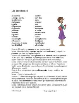 Las profesiones Lectura - Spanish Reading on Professions (future ...
