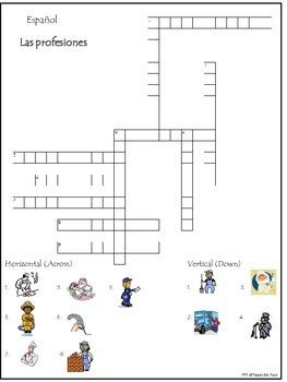 Las profesiones crossword puzzle