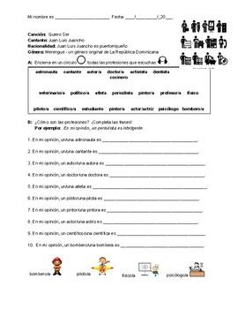 Las profesiones en español: Interpretive listening & Song activities