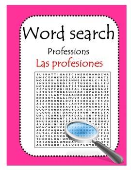 Las profesiones wordsearch