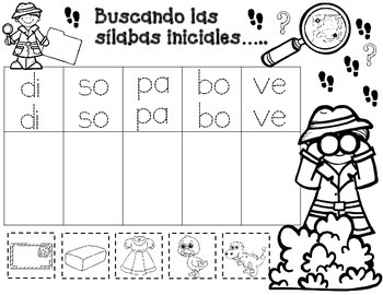Las silabas iniciales:  Buscando las silabas iniciales hojas de trabajo