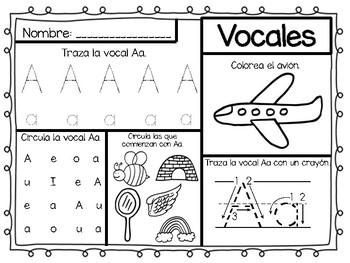 Las vocales (Hojas de trabajo)